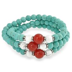 Turquoise, Howlite, & Carnelian Triple Stretch Stacking Bead Bracelet - so many possible variations!