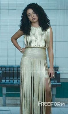 Kat Edison Fashion on The Bold Type Tv Show Outfits, Cool Outfits, Night Out Outfit, White Button Down Shirt, Fashion Tv, Herve Leger, Striped Tank, Gold Dress, Party Dress