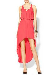 Hive & Honey Double Layer Hi-Lo Maxi Dress | Piperlime XS Coral $24.00