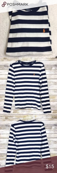 "Navy & White Striped Longsleeve Ralph Lauren Top Navy and white striped long sleeve Ralph Lauren Sport shirt. Featuring the iconic RL horse logo in orange.  Size: Large Material: 100% cotton  Measurements (flat): Armpit to armpit: 16"" Waist: 14.5"" Bottom hem: 15"" Length: 21.25"" Sleeve: 24.5""  Condition: one small stain on the front, see photo. Ralph Lauren Sport Tops Tees - Long Sleeve"