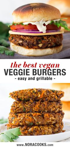 Veggie Burger Recipe (Vegan & Grillable) - This is my go-to vegan burger recipe and it's by far the BEST veggie burger out there! Made with -Best Veggie Burger Recipe (Vegan & Grillable) - This is my go-to vegan burger recipe and it's by far the BEST. Vegan Dinner Recipes, Vegan Dinners, Beef Recipes, Whole Food Recipes, Vegetarian Recipes, Cooking Recipes, Healthy Recipes, Grilled Vegan Recipes, Veggie Meat Recipes