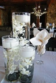 Centerpiece Idea. But with tiffany blue or aqua candles and flowers...