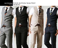 YesStyle: Four Button Slim Vest by Manual - Vintage is simple