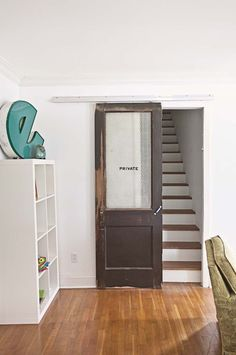 Vintage Sliding Door. Much better than a baby gate!