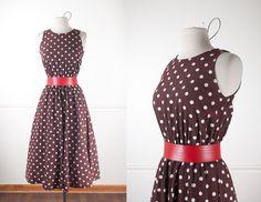 1980s Polka Dot Dress / Vintage 80s Dress / 80s Does 50s Dress / Vintage Brown Dress / Cute Retro Dress / 50s Style Dress / Pin Up by BlueHorizonVintage on Etsy #polkadot #dress #brown #50s #80s #pinup #vintage #etsy #rockabilly #retro