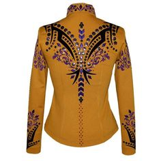 Goldenrod, Black and Purple Western Show Shirt (S) – Lisa Nelle Western Show Shirts, Show Jackets, Printed Blazer, Westerns, Lisa, Fancy, Couture, Purple, Outfit