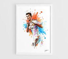 Gareth Bale (Real Madrid) - A3 Wall Art Print Poster of the Original Watercolor Painting Football Po