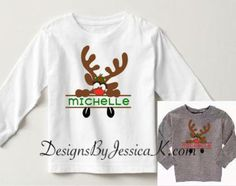 Reindeer Name Monogram Onesie. Split Reindeer Shirt With Red or Green Name. Personalized Christmas Rudolph Name Infant Youth Toddler Sizes. by DesignsByJessicaK on Etsy