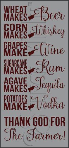 Thank God For The Farmer Alcohol Bar Stencil Alcohol Bar, Alcohol Signs, Alcohol Humor, Funny Alcohol Quotes, Golf Quotes, Sign Quotes, Humor Quotes, Hump Day Quotes Funny, Bartender Quotes