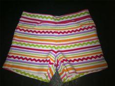 Gymboree Pretty Posies Rickrack Knit Shorts Pink Orange Green Size 7 NWT NEW