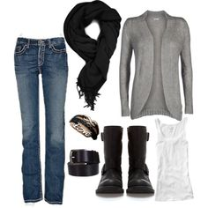 Grey Cardigan with cami, jeans, scarf and boots