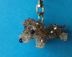 Light Smocked Topaz Dachshund Keychain -  Swarovski Crystal Keychain $30.00