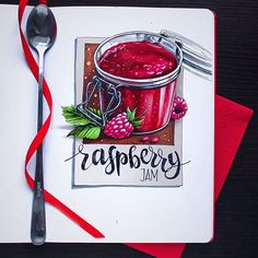 Raspberry jam #jar, #jam, #raspberry, #spoon, #sketch, #illustration, #leuchtturm1917, #copic, #copicart, #copicmarker, #pink, #art_we_inspire, #скетч, #иллюстрация