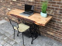 Beautiful wood and iron desk. Custom built using pine live edge wood as the table top.