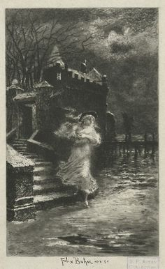 La Blanche Caroline de Félix Buhot, eau-forte et pointe sèche (5e état sur 6), illustration pour Une Vieille Maîtresse de Jules-Amédée Barbey d'Aurevilly.