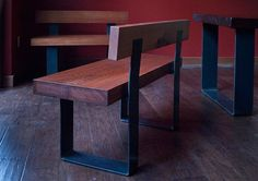 A dining room set utilizing hot rolled steel and reclaimed wood. Dining Set With Bench, Dining Bench, Dining Chairs, Dining Room, Metal Homes, Wood Furniture, Natural Wood, Steel, Table