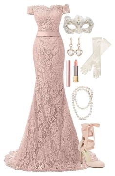 A fashion look from February 2018 featuring pink shoes, pearl necklaces and rose gold earrings. Browse and shop related looks. Lila Outfits, Classy Outfits, Stylish Outfits, Stunning Dresses, Elegant Dresses, Pretty Dresses, Ball Dresses, Ball Gowns, Masquerade Outfit