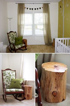 Antique Rocker recoverd with bird fabric and a Tree Stump as a side table