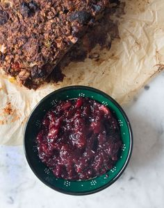 Sage and Apricot Nut Roast with Cranberry Sauce | Deliciously Ella