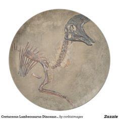 Cretaceous Lambeosaurus Dinosaur Fossil Dinner Plate