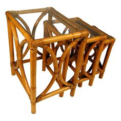 Rattan amp Cane Conservatory Furniture Nest Of Tables