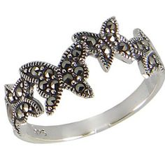 Natural Marcasite Stone Sterling Silver Women Ring, Butterfly model on Etsy, $19.00