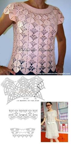 Pretty crochet lace top ~~ Perolas do Crochet by Renata Vieira Crochet Shirt, Crochet Top, Crocheted Lace, Crochet Patron, Crochet Stitches Patterns, Crochet Woman, Crochet Videos, Leila, Top Pattern