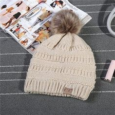 c10c758c27c C.C Thick Cable Knit Faux Fuzzy Fur Pom Fleece Lined Skull Cap Cuff CC  Beanie