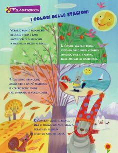 stagioni April Preschool, Italian Vocabulary, Baby Words, Italian Language, Learning Italian, Kids Education, Nursery Rhymes, Four Seasons, Literacy