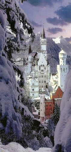 Neuschwanstein Castle in winter, where is a 19th-century Romanesque Revival palace on a rugged hill above the village of Hohenschwangau near Füssen in southwest Bavaria, Germany. The palace was commissioned by Ludwig II of Bavaria as a retreat and as a homage to Richard Wagner.