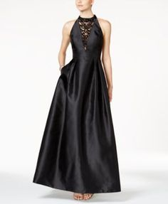 Adrianna Papell Embellished Mikado Satin Gown $249.00 A cascading necklace of faceted stones glisten down the front of an Adrianna Papell gown cut from luminous mikado satin that nips in chicly at the midline.