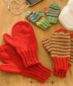 Mittens for All Free Knitting Pattern from Red Heart Yarns