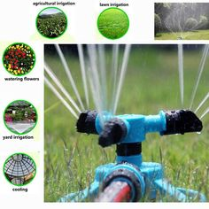 360 Degree Fully Circle Rotating Water Sprinkler 3 Nozzles Garden Pipe Hose Irrigation System Grass Lawn Watering