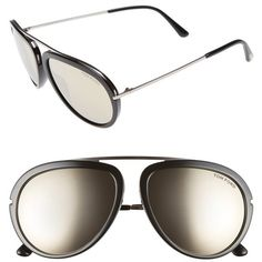 Women's Tom Ford 'stacy' 57Mm Sunglasses ($445) ❤ liked on Polyvore featuring accessories, eyewear, sunglasses, round sunglasses, tom ford eyewear, round glasses, tom ford sunnies and tom ford