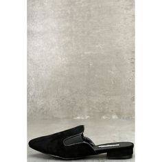 Abigail Black Suede Loafer Slides ($33) ❤ liked on Polyvore featuring shoes, loafers, black, loafer shoes, pointy toe shoes, black loafer shoes, kohl shoes and suede leather shoes