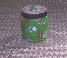 CHRISTMAS QUILTED Glass JAR Candy Money Small by ISewYouReap, $4.50