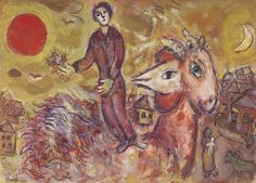 Coucher de Soleil et Coq au Double-Profil ou Le Souvenir de la Ville: 1971, Marc Chagall