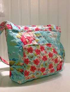 Quilted Aqua and pink roses shoulder bag by PhoebeMade on Etsy, $25.00