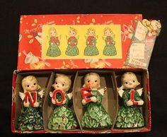 VINTAGE CHRISTMAS NOEL ANGELS HOLLY RED LETTERS FIGURES BOX JAPAN ORNAMENT