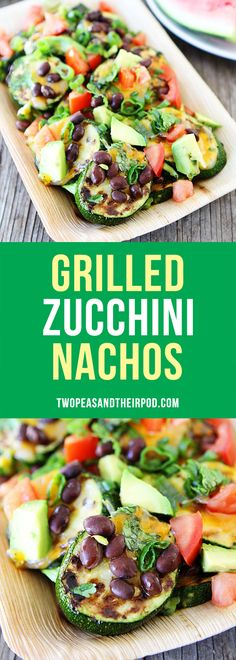 Grilled Zucchini Nachos-these easy and healthy nachos are made with zucchini coins and all of your favorite nachos toppings! Load them with black beans, cheese, avocado, tomato, cilantro, onion, and more! The perfect summer nachos!