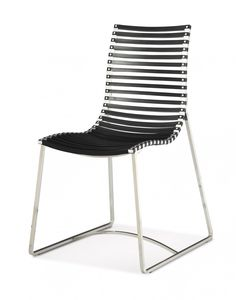 Minimalists will gravitate towards the stylish Donatella Dining Chair. Its  streamlined contoured design is grounded by a polished stainless steel sleigh leg and aluminium slatted seat, which is available in a range of easy to co-ordinate colours. Marry  with a glass or marble topped contemporary table to complete your  dining story. Features      Donatella Dining Chair features a polished stainless steel frame with aluminium slatted seat and back     Available in black, white or silver ...
