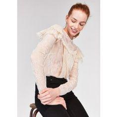 55df7196040 Cream Pleated Lace Top   TARA JARMON Lace Tops