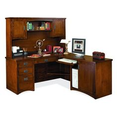 kathy ireland Home by Martin Mission Pasadena Mission L-Shaped Computer Desk and Storage Hutch
