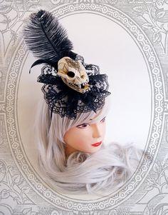 Cat Skull Fascinator Vegan  Goth Black by BlackUnicornShop on Etsy, €48.00