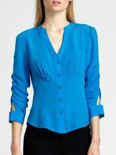 Concise V Neck Chiffon Pure Blouse - fashionmia.com