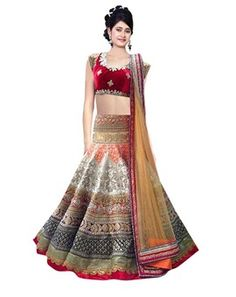 Red And Cream Georgette Embroidered  Designer Party Wear Lehenga
