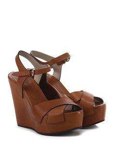 LENA MILOS - Zeppe - Donna - Zeppa in pelle vintage con cinturino alla caviglia e suola in gomma. Tacco 130, platform 50 con battuta 80. - COGNAC - € 258.00