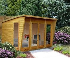 Small Garden Shed Summer House Wrb House. Wooden Summer House, Corner Summer House, Summer Houses, Types Of Cladding, Cladding Design, Bungalow, Prefabricated Sheds, Shiplap Cladding, Storage Shed Plans
