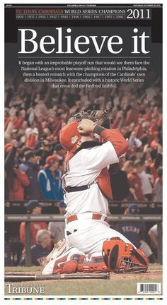 Go Cardinals! 11 in 11 World Series title is St Louis Baseball, St Louis Cardinals Baseball, Stl Cardinals, Phillies Baseball, Baseball Players, Nfl Football, Independent Day, Cardinals World Series, Newspaper Cover