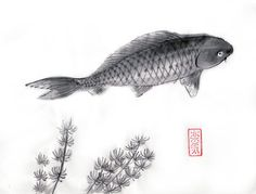 Original Sumie Brush Painting Fish  Japanese art  by AnimaAllegra, $77.00